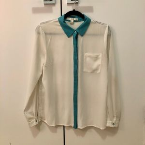 White and teal button up